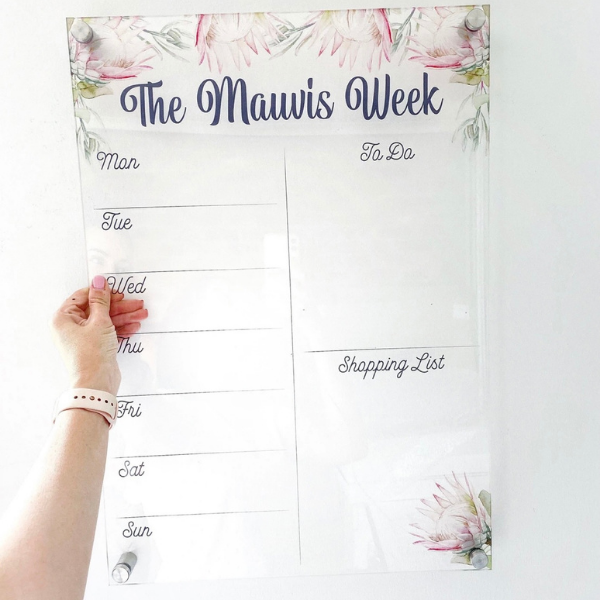 Acrylic Weekly Planner - Protea