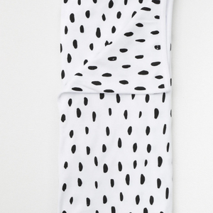 Stretch Cotton Blanket – Black Smudge Dot On White