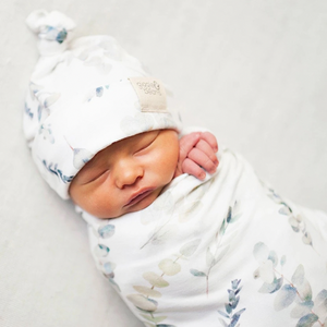 Enchanted forest swaddle blanket & newborn top knot beanie set