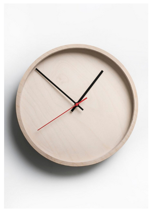 Deep Frame Round Clock – Natural