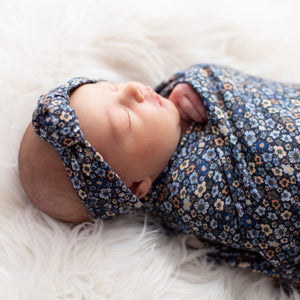 'Midnight Floral' Swaddle Blanket & Rose Knot Headband Set