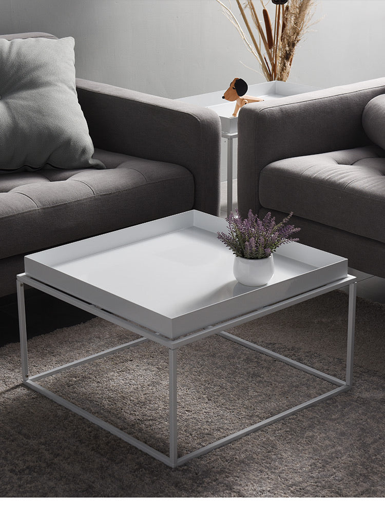 Large square steel powder coated side table