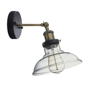 Bright Star Antique Brass Wall Light With Wide Glass