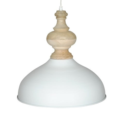 White powder coated iron hanging lamp with mango wood finish