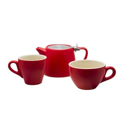 STONEWARE TALL BLACK CUP MATT RED 220ML