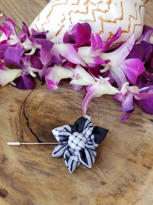 Palaka Flower Lapel Pin Black