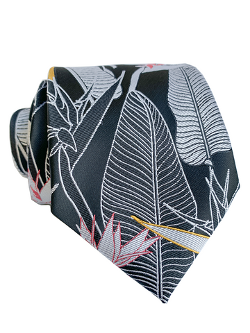 Bird of Paradise Pink/Black Modern Necktie
