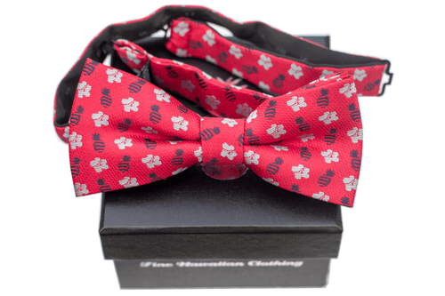 Pineapple Hibiscus Red/Silver/Blue Pre-tie Bowtie