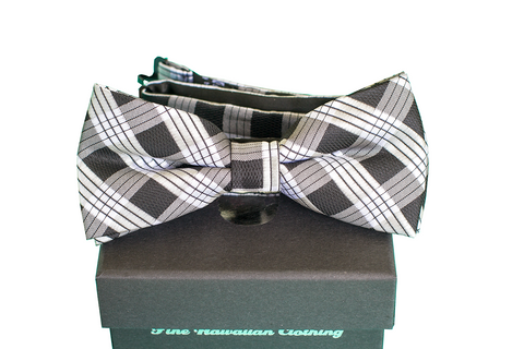 Kids' Pineapple Hibiscus Loose Red/Silver/Blue Pre-tie Bowtie