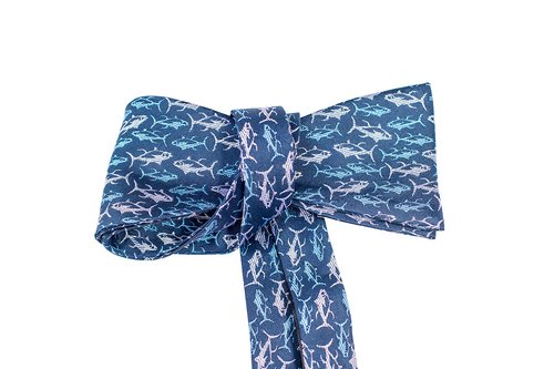 Ahi Navy Silk Self-tie Bowtie