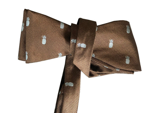 Pineapple Vice Brown/Blue Silk Self-tie Bowtie