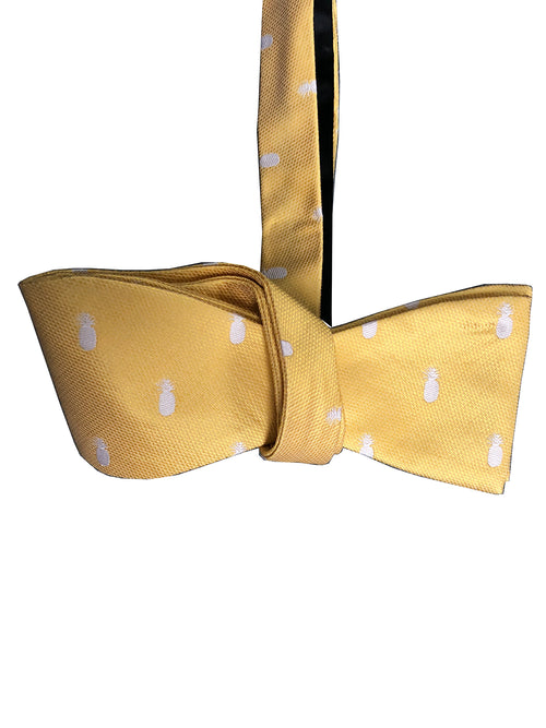 Pineapple Vice Yellow/White Silk Self-tie Bowtie