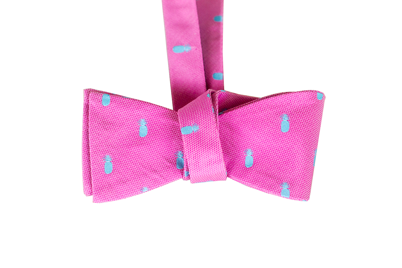 Pineapple Vice Pink/Teal Silk Self-tie Bowtie