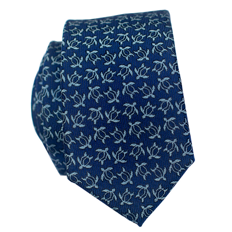 Pineapple Hibiscus Loose Red/Blue/Silver Slim Necktie