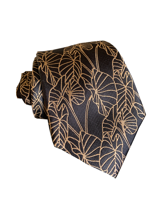 Kalo 2 Charcoal/Rose Gold Modern Silk Necktie