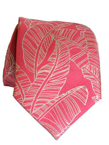Monstera Blue Modern Silk Necktie
