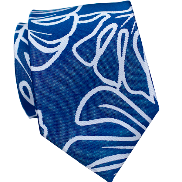 Monstera Dark Blue Modern Necktie