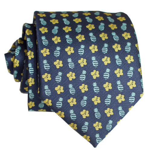 Pineapple Hibiscus Loose Blue/Yellow Modern Necktie