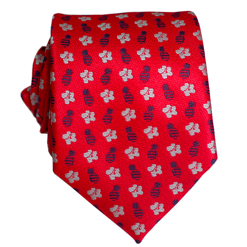 Pineapple Hibiscus Loose Red/Grey/Blue Modern Necktie