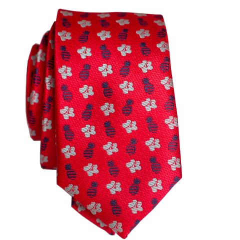 Pineapple Line Red/Blue Slim Necktie