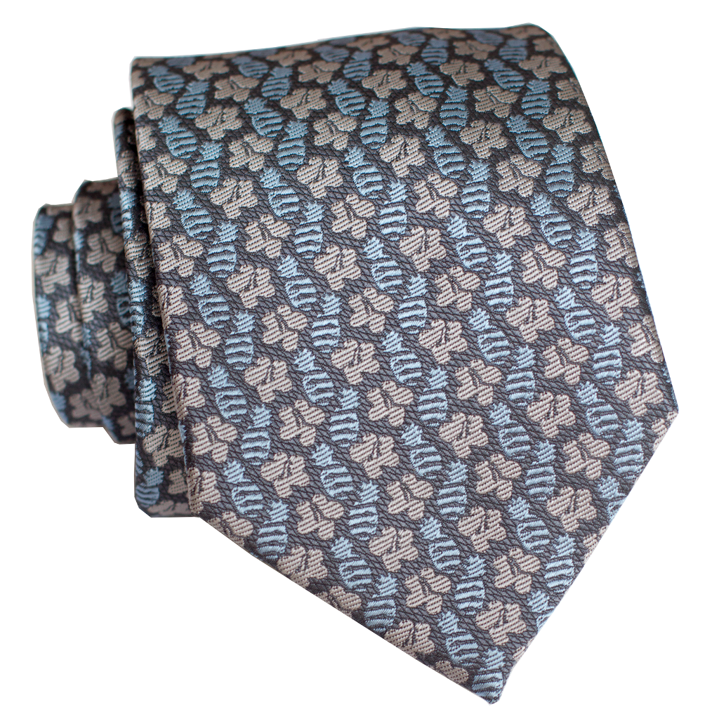 Pineapple Hibiscus Tight Blue/Grey Modern Necktie