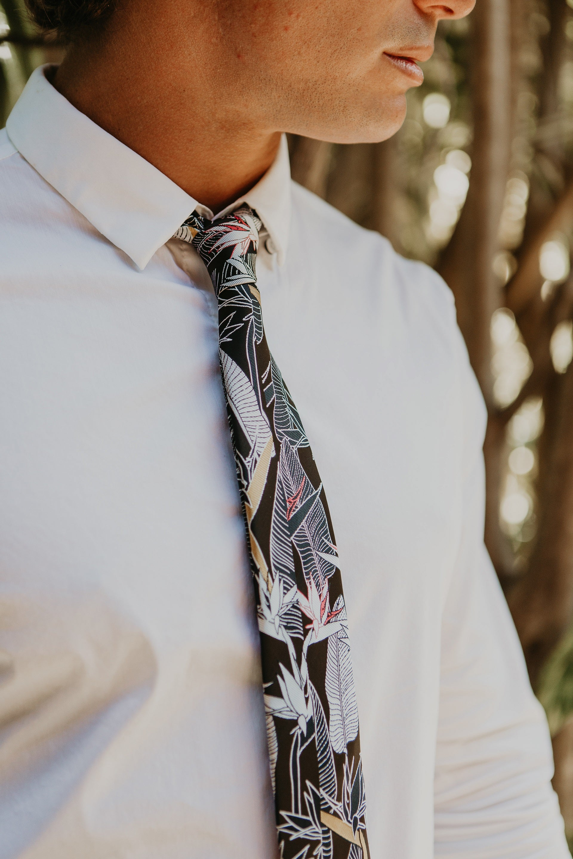 Bird of Paradise Dark Modern Necktie