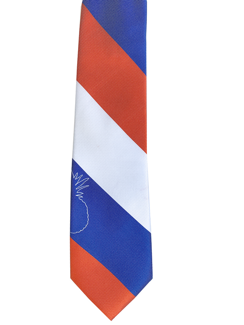Pineapple Line Blue/White/Orange Modern Necktie