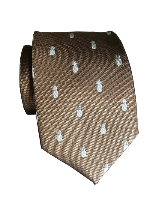 Pineapple Vice Brown/Blue Modern Necktie