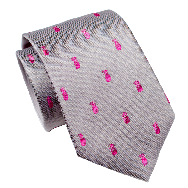 Pineapple Vice Grey/Pink Modern Silk Necktie