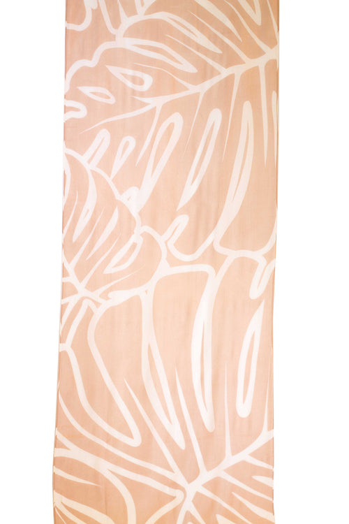 Monstera Coral/White Women's Scarf