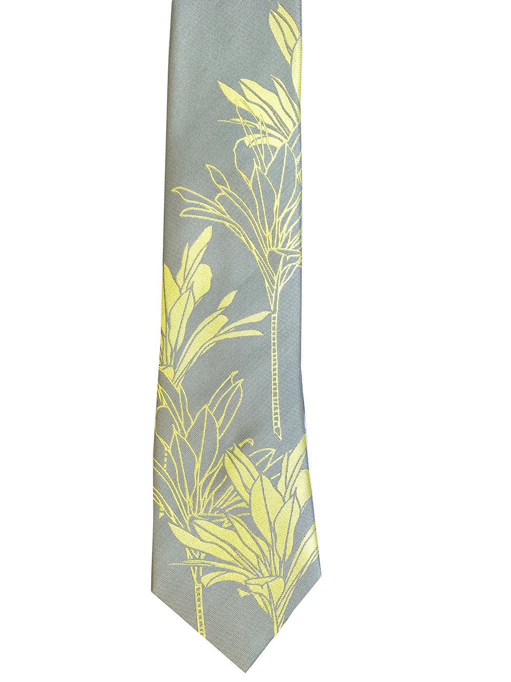 Ti Plant Grey/Yellow Modern Necktie