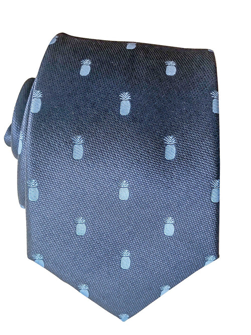 Pineapple Vice Navy/Light Blue Modern Silk Necktie