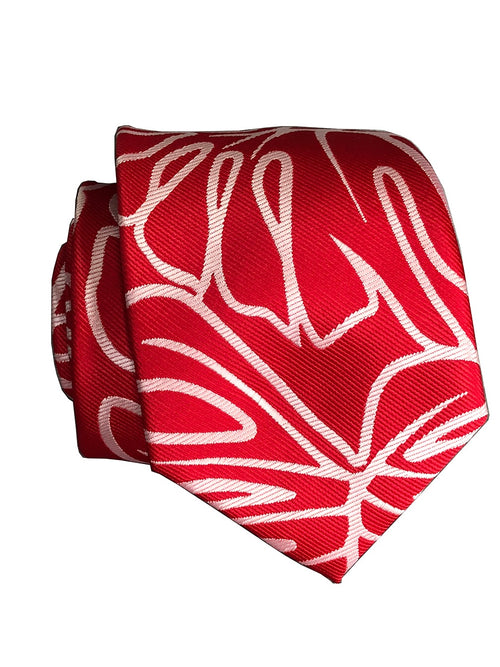 Monstera Red/White Modern Necktie