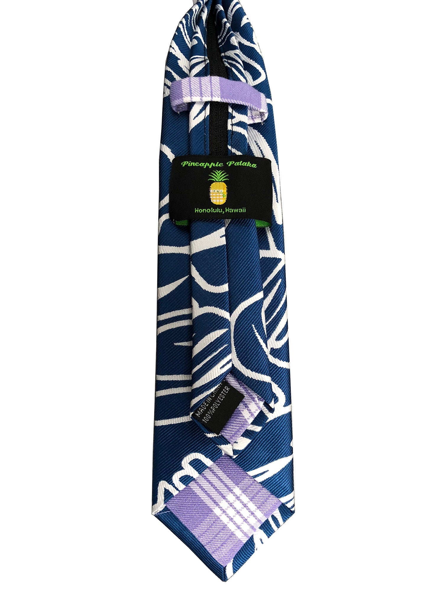 Monstera Dark Blue Kids Zipper Necktie