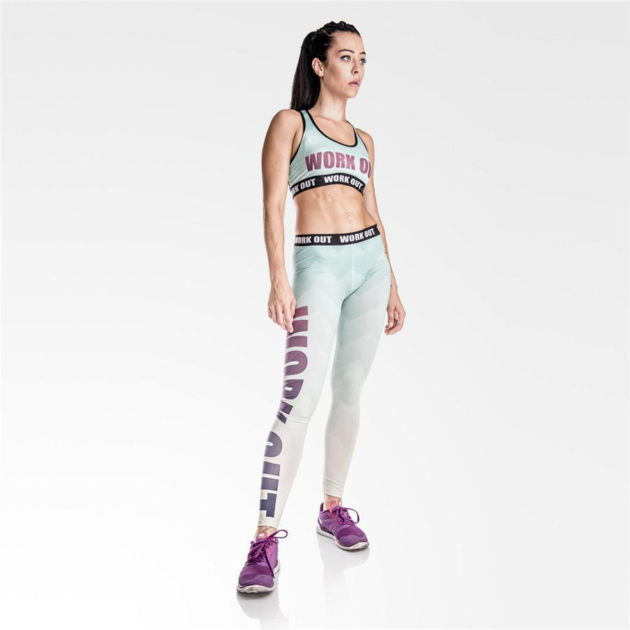 Aqua Zig Zag Workout Leggings