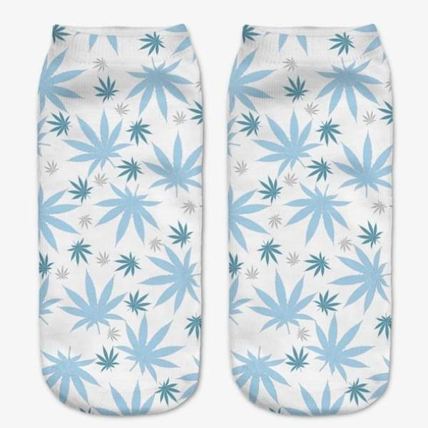 Blue Weeds Ankle Socks