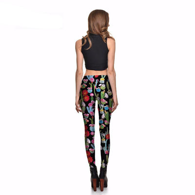 Cactus and Flower Colorful Leggings