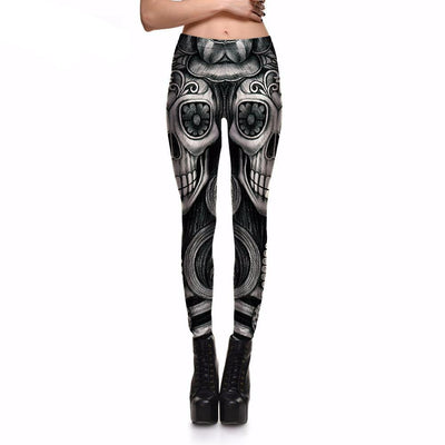 Flower Gray Skull Leggings