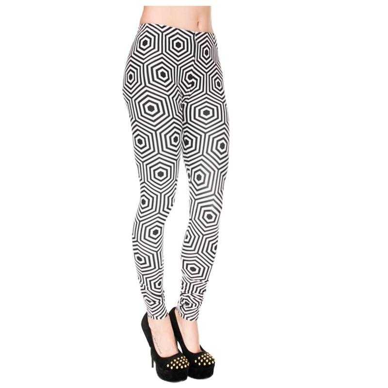 Hexagon Black and White Leggings