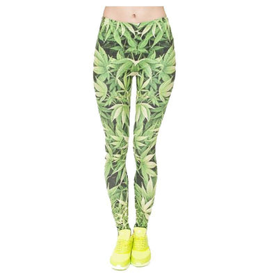 Light Green Weed Leggings