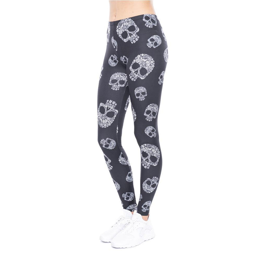 Mandala Skull Black Leggings