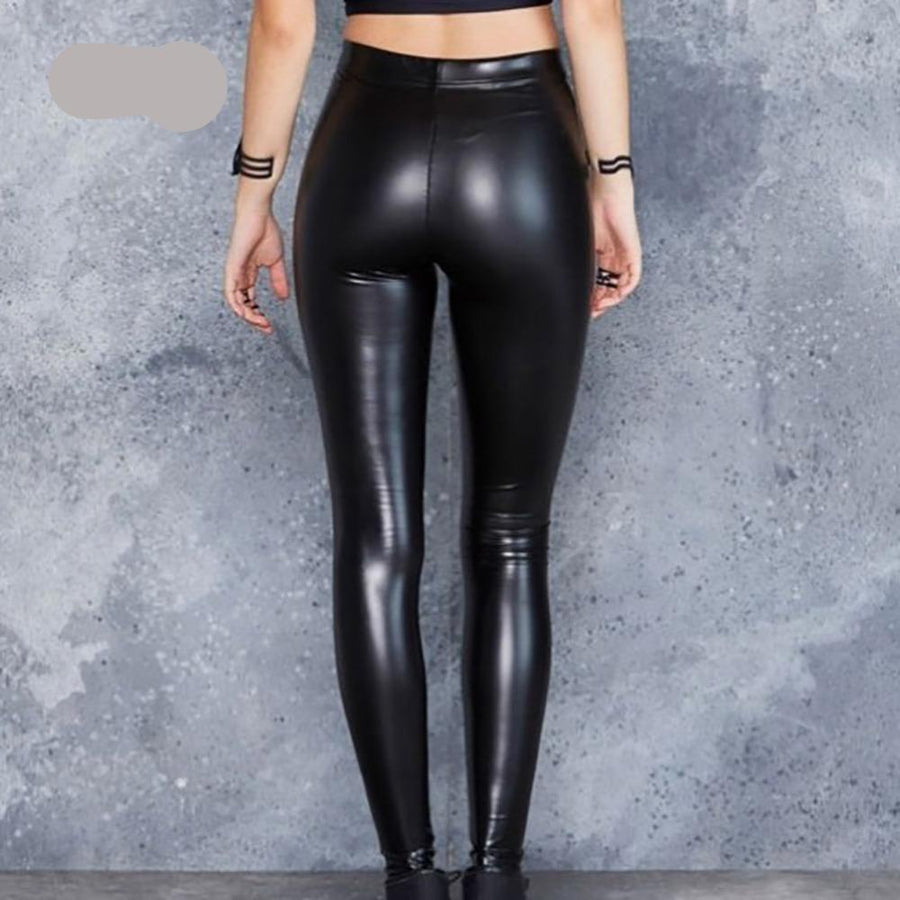 Plain Black Leather Leggings