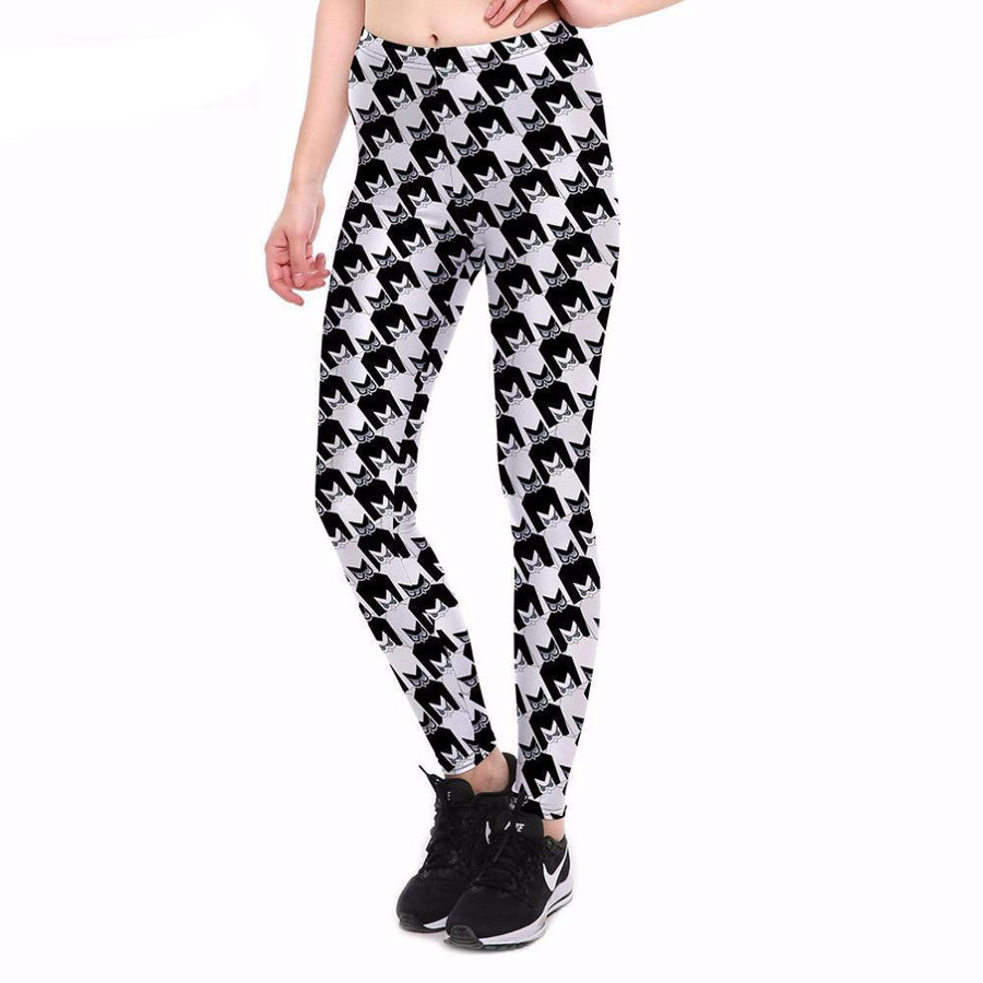 Shield Abstract Black and White Leggings