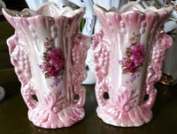 2 pink vases of the bride