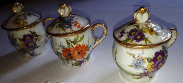 Cream pots orange and purple