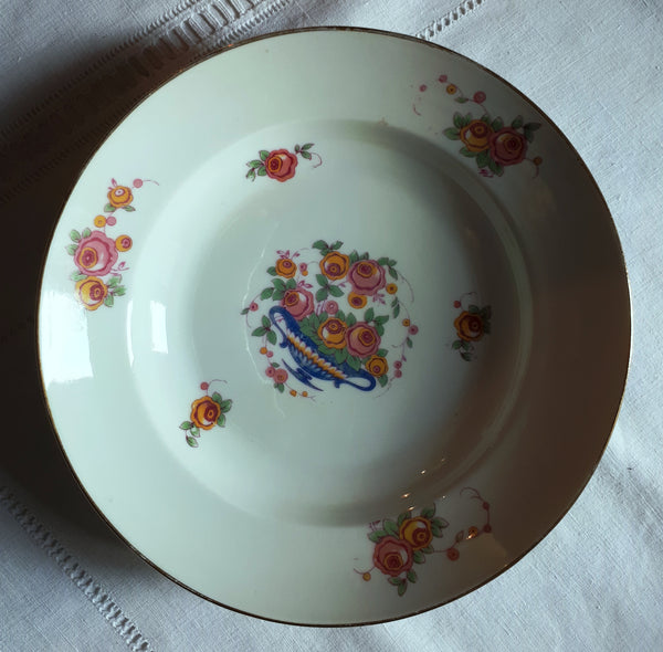 Soup plate blue basket with roses