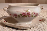 Gravy boat pink and green flowers