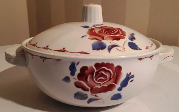 Soup tureen rose and blue