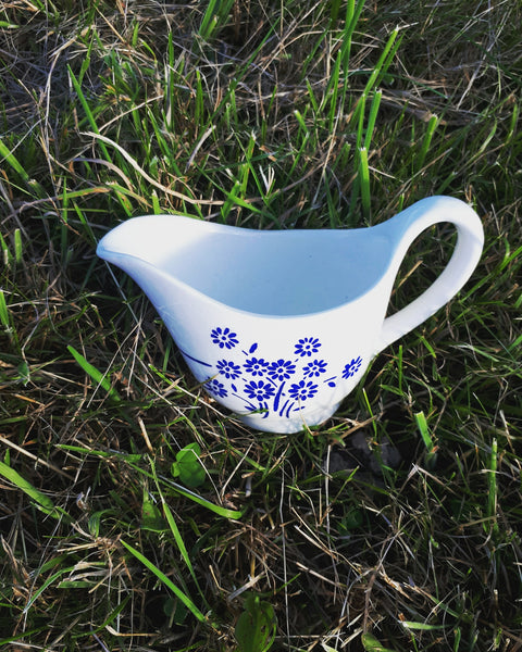 Gravy boat blue flowers