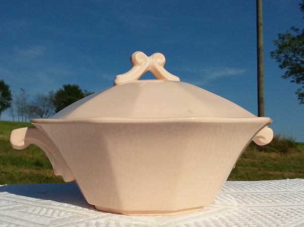 Old pink soup tureen art nouveau